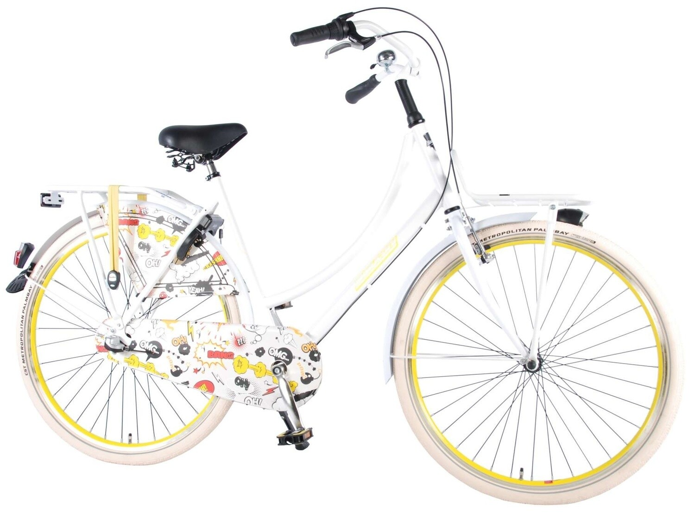 Damen Hollandrad Fahrrad Velo Popal Salutoni Cartoon 28 Zoll 3G Rücktrittbremse Weiß