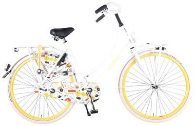 Damen Hollandrad Fahrrad Velo Popal Salutoni Cartoon 28 Zoll Rücktrittbremse Weiss