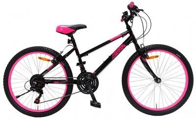 Fahrrad Velo Mountainbike AMIGO Power 24 Zoll 38 cm Mädchen 18G Felgenbremse Schwarz/Rosa