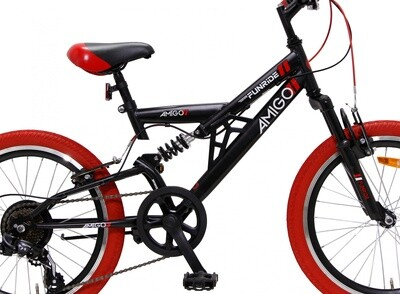 Kinder-Fahrrad Velo Mountainbike AMIGO Fun Ride 20 Zoll 33 cm Junior 7G Felgenbremse Schwarz/Rot