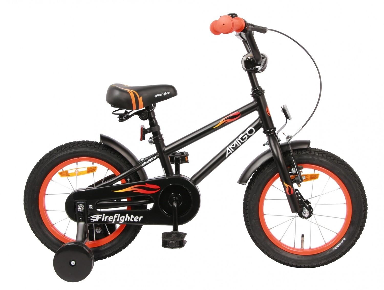 Kinder-Fahrrad Velo AMIGO Firefighter 14 Zoll 18 cm Jungen Rücktrittbremse Mattschwarz