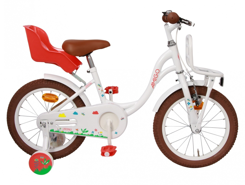 Kinder-Fahrrad Velo AMIGO Spring 16 Zoll 25,5 cm Mädchen Rücktrittbremse Weiss