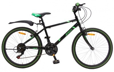 Kinder-Fahrrad Velo Mountainbike AMIGO Rock 24 Zoll 38 cm Junior 18G Felgenbremse Schwarz