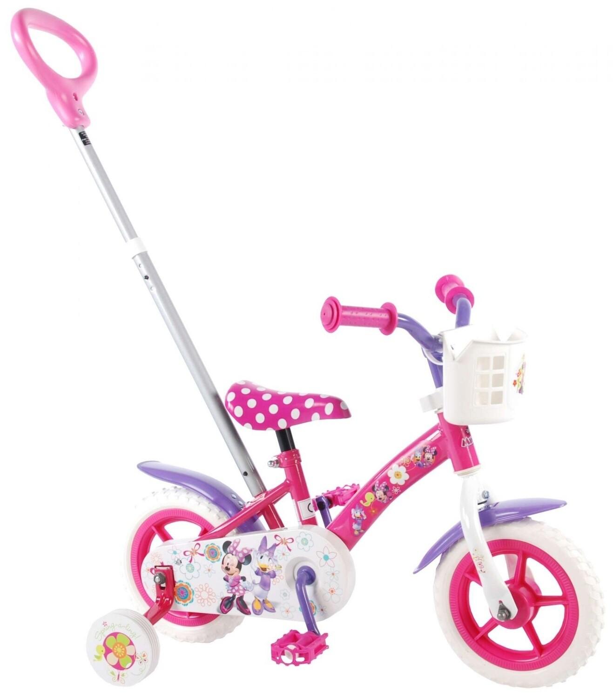 Kinder-Fahrrad Velo Volare Disney Minnie Mouse Daisy Duck 10 Zoll Mädchen mit Schubstange Rosa