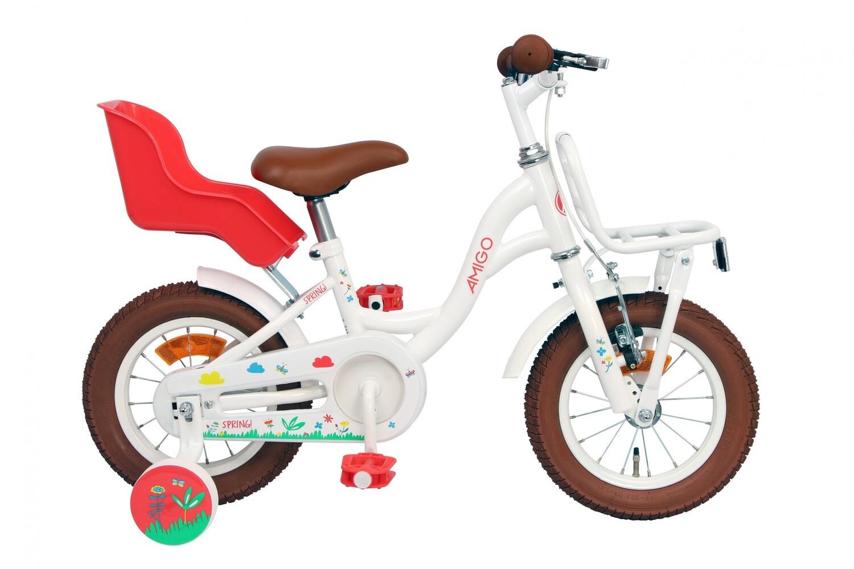 Kinder-Fahrrad Velo AMIGO Spring 12 Zoll 20 cm Mädchen Rücktrittbremse Weiss
