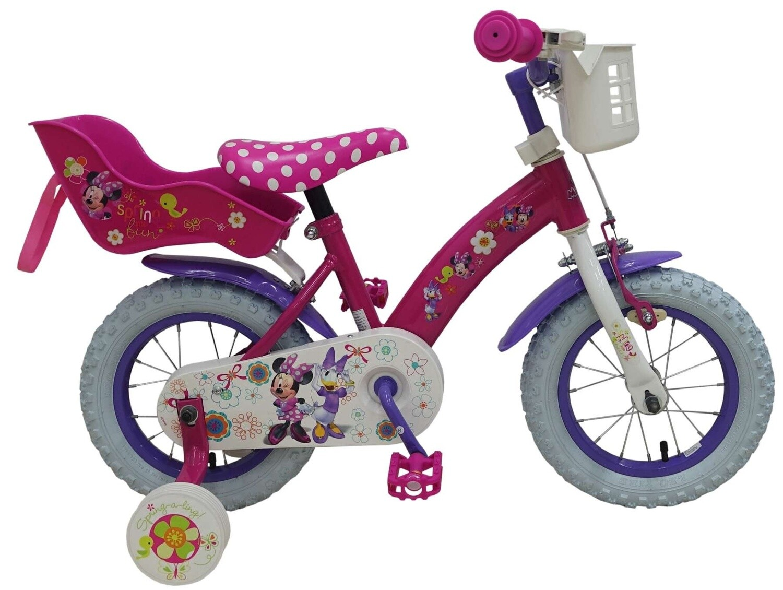 Kinder-Fahrrad Velo Volare Disney Minnie Mouse Daisy Duck 12 Zoll Mädchen mit Schubstange Rosa
