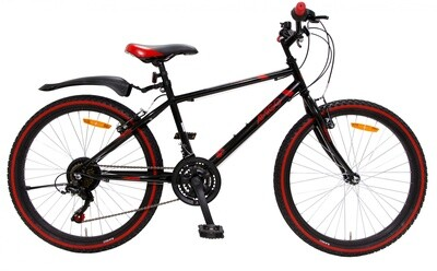 Kinder-Fahrrad Velo AMIGO Mountainbike Rock 24 Zoll 38 cm Junior 18G Felgenbremse Schwarz/Rot