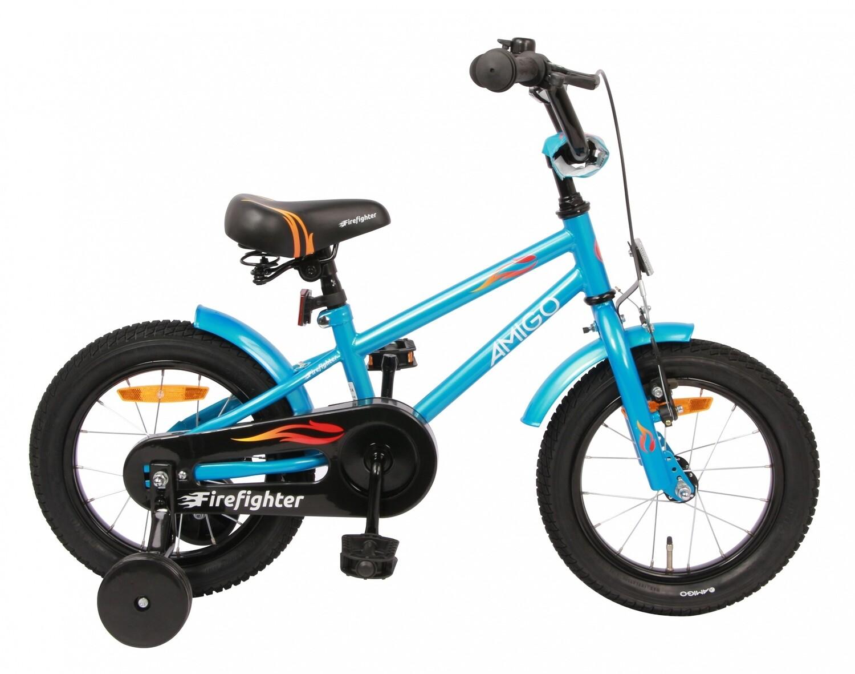 Kinder-Fahrrad Velo AMIGO Firefighter 14 Zoll 18 cm Jungen Rücktrittbremse Blau