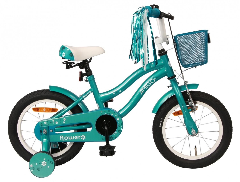 Kinder-Fahrrad Velo AMIGO Flower 14 Zoll 22 cm Mädchen Rücktrittbremse Türkis