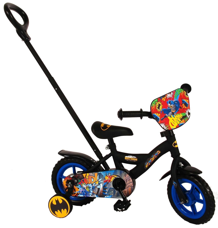Kinder-Fahrrad Velo DC Comics Batman 10 Zoll 18 cm Jungen mit Schiebestange Schwarz