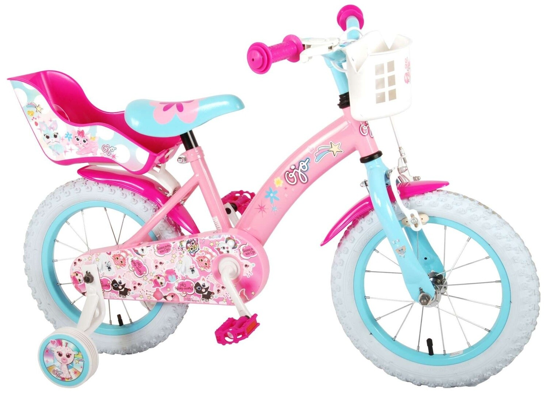 Kinder-Fahrrad Velo OJO 14 Zoll 23,5 cm Mädchen Rücktrittbremse Rosa/Blau