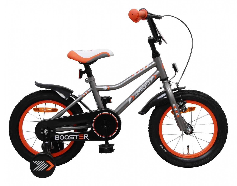Kinder-Fahrrad Velo AMIGO Booster 14 Zoll 22 cm Jungen Rücktrittbremse Grau