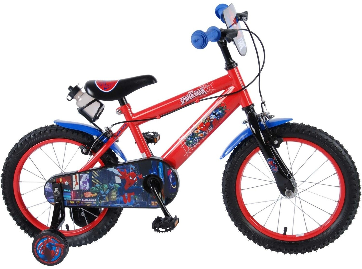 Kinder-Fahrrad Velo Marvel Spiderman 16 Zoll 25,4 cm Jungen Felgenbremse Rot