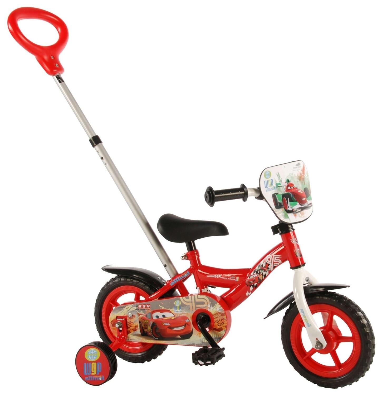 Kinder-Fahrrad Velo Volare Disney Cars 10 Zoll Jungen mit Schiebestange Rot