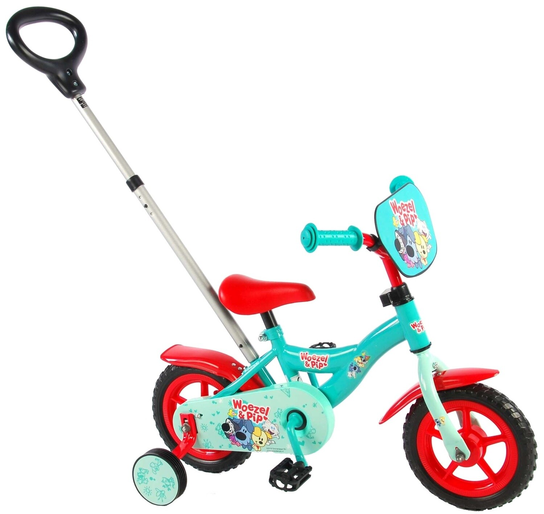Kinder-Fahrrad Velo Woezel & Pip 10 Zoll 18 cm Jungen mit Lenkstange Grün/Rot
