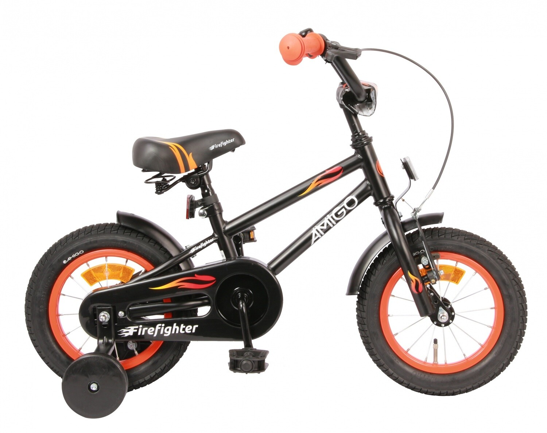 Kinder-Fahrrad Velo AMIGO Firefighter 12 Zoll 17 cm Jungen Rücktrittbremse Mattschwarz