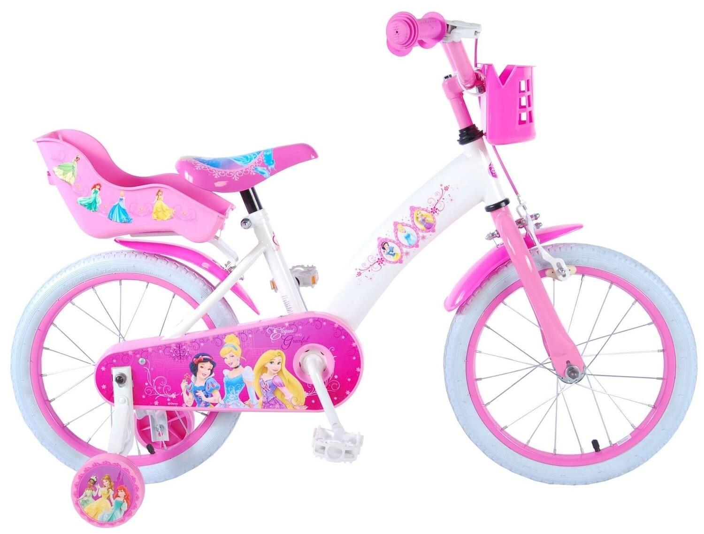 Kinder-Fahrrad Velo Disney Princess 16 Zoll 25,4 cm Mädchen Rücktrittbremse Weiss/Rosa