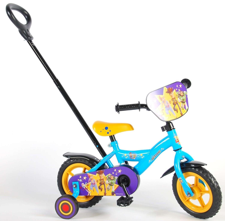 Kinder-Fahrrad Velo Volare Disney Toy Story 10 Zoll 18 cm Jungen Schiebestange Blau/Gelb