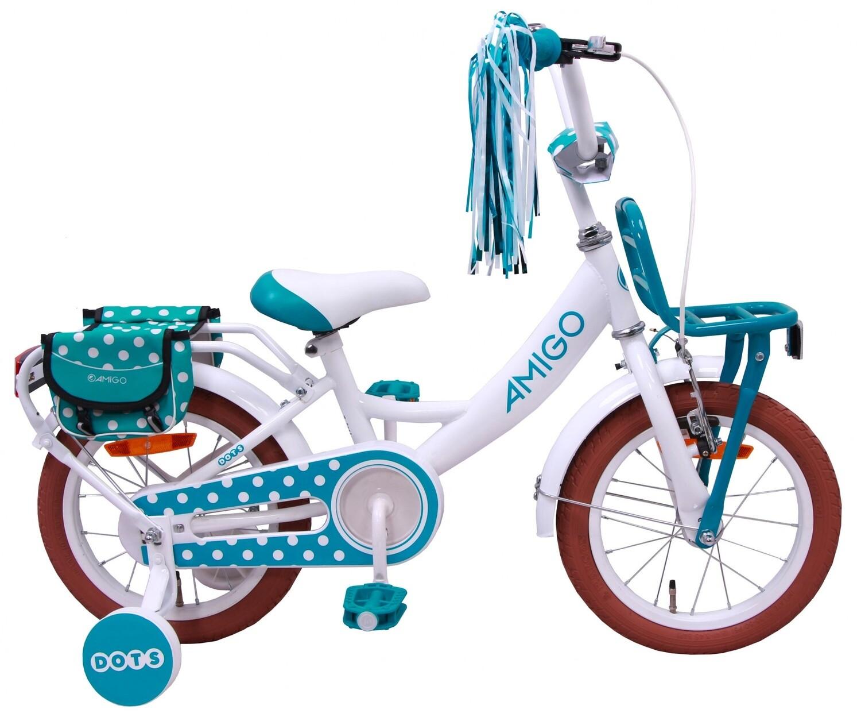 Kinder-Fahrrad Velo AMIGO Dots 12 Zoll Mädchen Rücktrittbremse Weiß