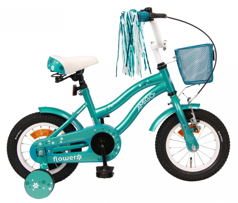 Kinder-Fahrrad Velo AMIGO Flower 12 Zoll 21,5 cm Mädchen Rücktrittbremse Türkis
