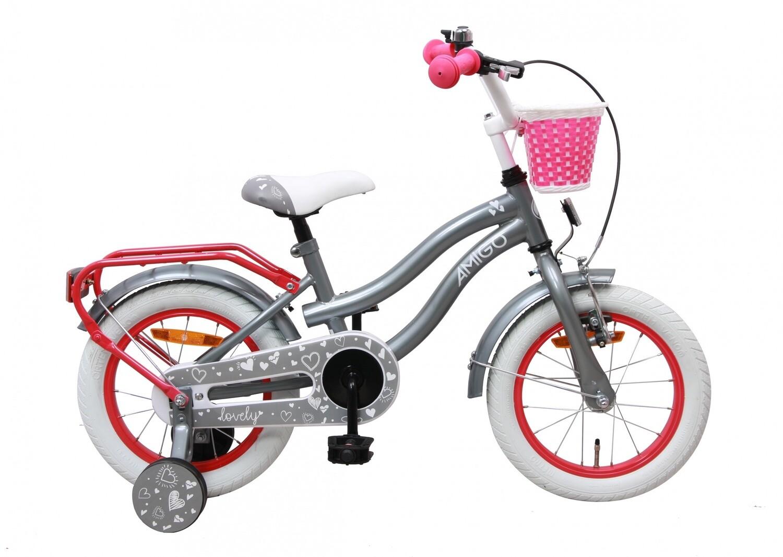 Kinder-Fahrrad Velo AMIGO Lovely 14 Zoll 23 cm Mädchen Rücktrittbremse Grau
