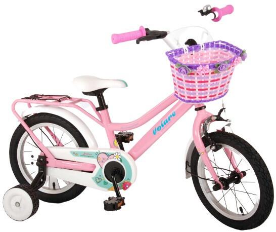 Kinder-Fahrrad Velo Volare Brilliant 14 Zoll 23,5 cm Mädchen Rücktrittbremse Rosa/Weiss