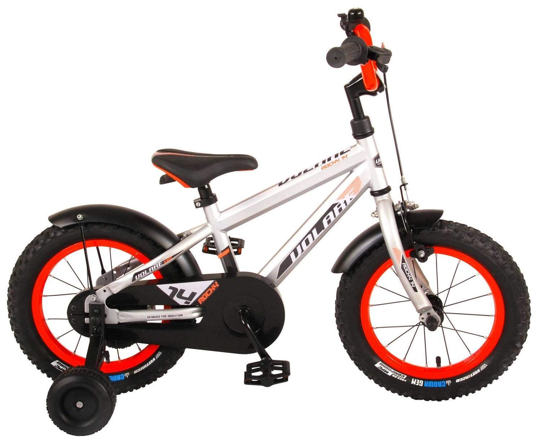 Kinder-Fahrrad Velo Volare Rocky 14 Zoll 23,5 cm Jungen Rücktrittbremse Silber/Rot