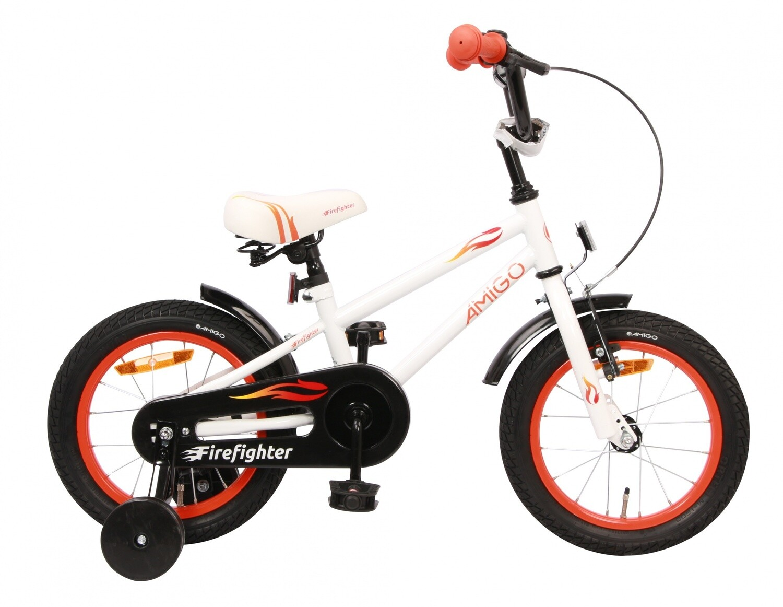 Kinder-Fahrrad Velo AMIGO Firefighter 14 Zoll 18 cm Jungen Rücktrittbremse Weiss