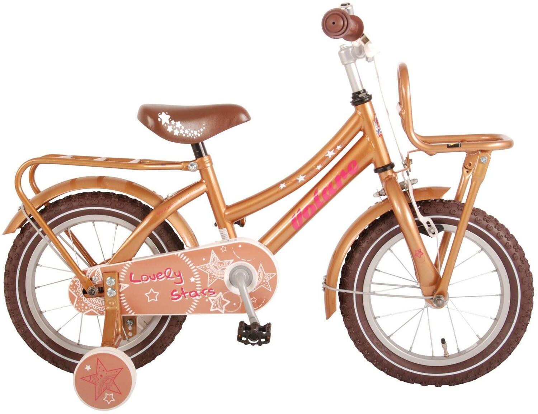 Kinder-Fahrrad Velo Volare Lovely Stars 14 Zoll 23,5 cm Mädchen Rücktrittbremse Gold/Braun