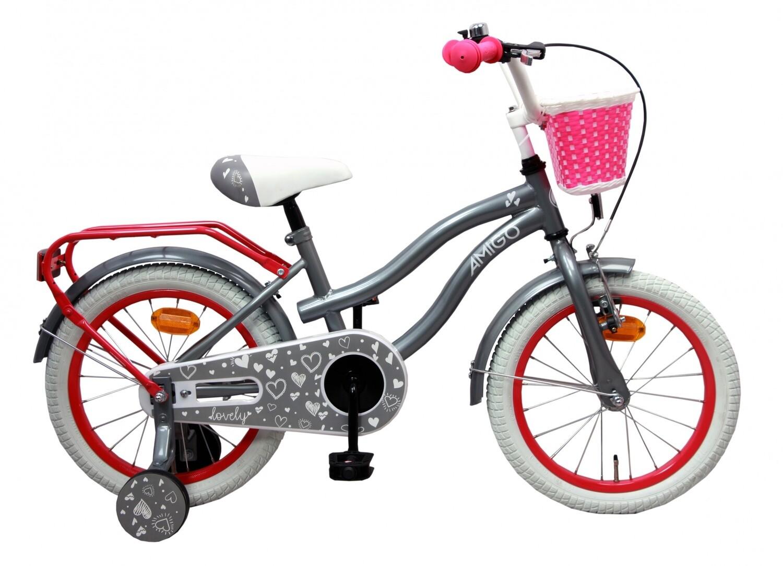Kinder-Fahrrad Velo AMIGO Lovely 16 Zoll 26 cm Mädchen Rücktrittbremse Grau