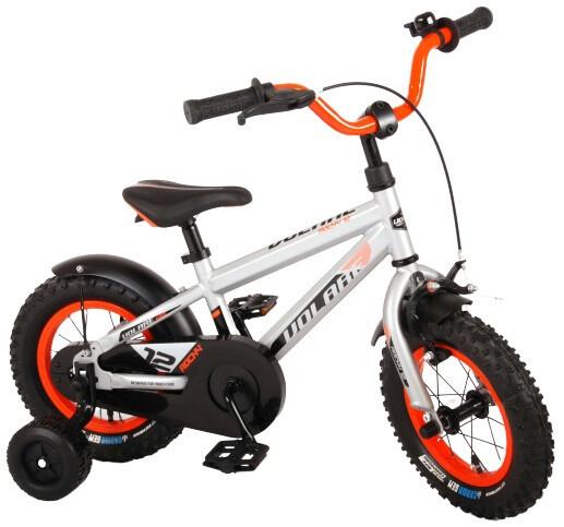 Kinder-Fahrrad Velo Volare Rocky 12 Zoll 21,5 cm Jungen Rücktrittbremse Silber/Orange