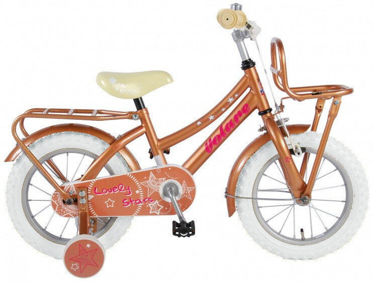 Kinder-Fahrrad Velo Volare Lovely Stars 14 Zoll 23,5 cm Mädchen Rücktrittbremse Gold/Weiss