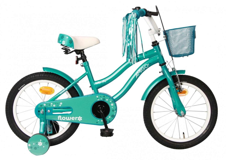 Kinder-Fahrrad Velo AMIGO Flower 16 Zoll 26 cm Mädchen Rücktrittbremse Türkis