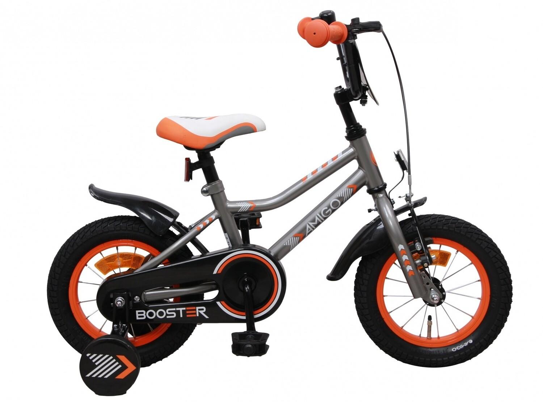 Kinder-Fahrrad Velo AMIGO Booster 12 Zoll 20 cm Jungen Rücktrittbremse Grau