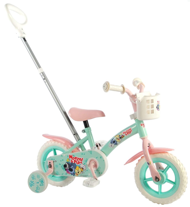 Kinder-Fahrrad Velo Woezel & Pip 10 Zoll 18 cm Mädchen mit Schiebestange Grün/Rosa