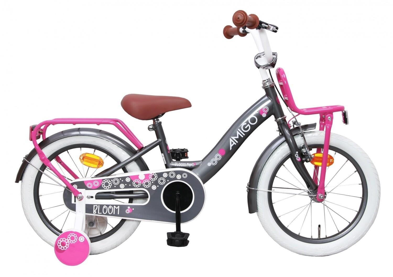 Kinder-Fahrrad Velo AMIGO Bloom 16 Zoll Mädchen Rücktrittbremse Grau