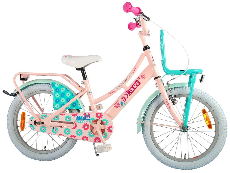 Kinder-Fahrrad Velo Volare Ibiza 18 Zoll 28 cm Mädchen Rücktrittbremse Rosa/Grün