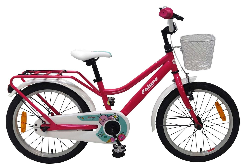 Kinder-Fahrrad Velo Volare Brilliant 18 Zoll 28 cm Mädchen Rücktrittbremse Rosa/Weiß