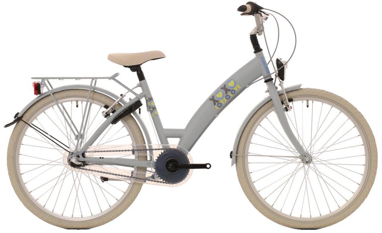 Kinder-Fahrrad Velo Bike Fun Lots of Love 24 Zoll 39 cm Mädchen 3G Felgenbremse Hellbraun/Grau