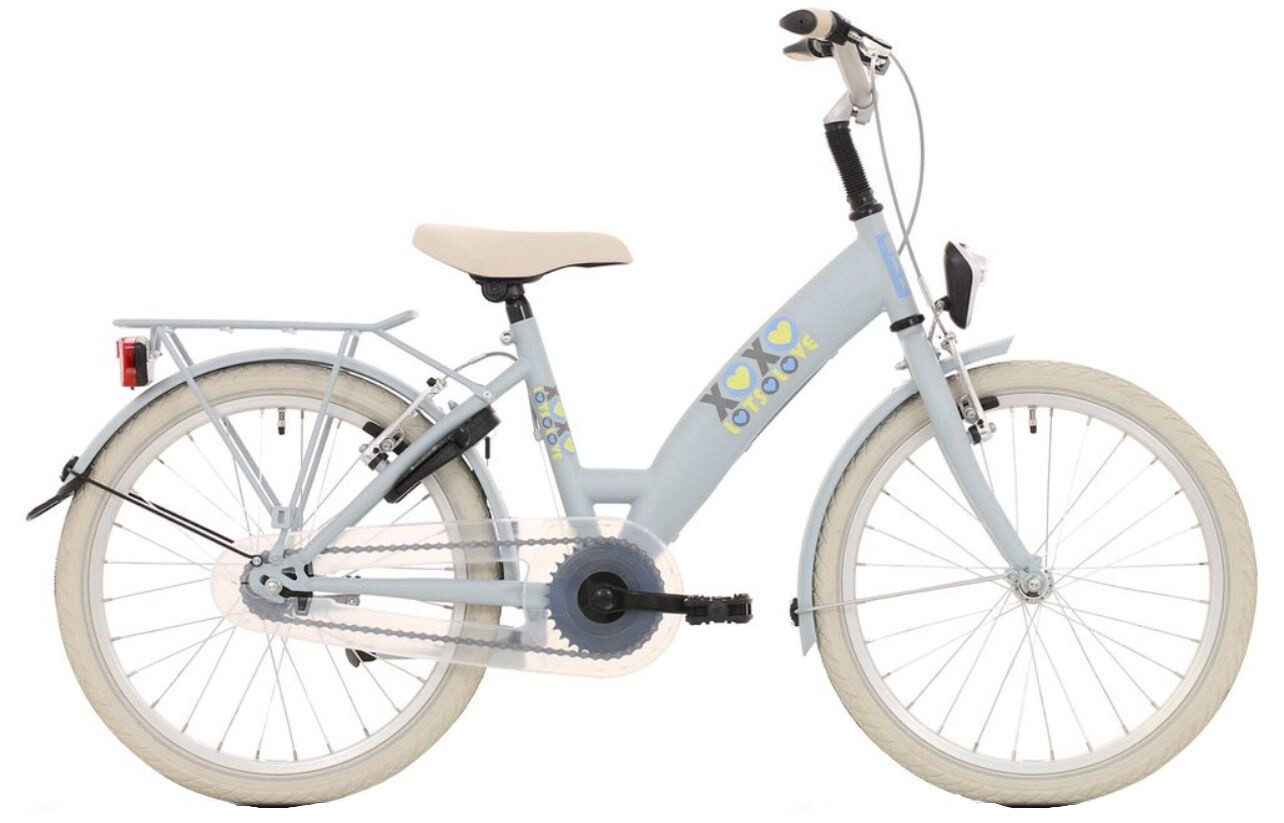 Kinder-Fahrrad Velo Bike Fun Lots of Love 20 Zoll 30 cm Mädchen 3G Felgenbremse Hellblau/Grau