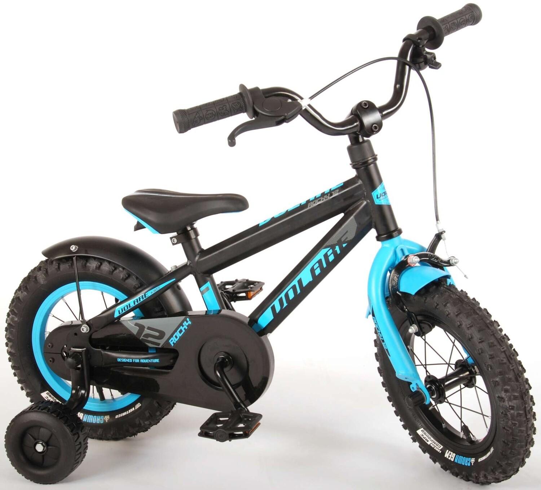Kinder-Fahrrad Velo Volare Rocky 12 Zoll 20 cm Jungen Rücktrittbremse Schwarz/Hellblau