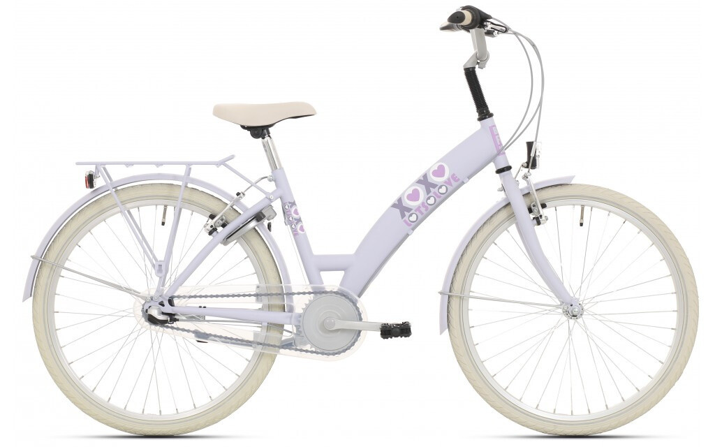Kinder-Fahrrad Velo Bike Fun Lots of Love 26 Zoll 43 cm Mädchen 3G Rücktrittbremse Hellblau