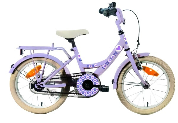 Kinder-Fahrrad Velo Bike Fun Lots of Love 18 Zoll 29 cm Mädchen Rücktrittbremse Violett