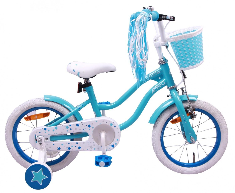 Kinder-Fahrrad Velo AMIGO Superstar 14 Zoll Mädchen Rücktrittbremse Hellblau