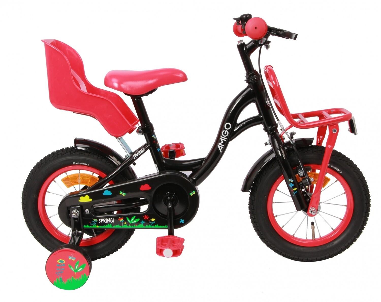 Kinder-Fahrrad Velo AMIGO Spring 12 Zoll 19 cm Mädchen Rücktrittbremse Schwarz