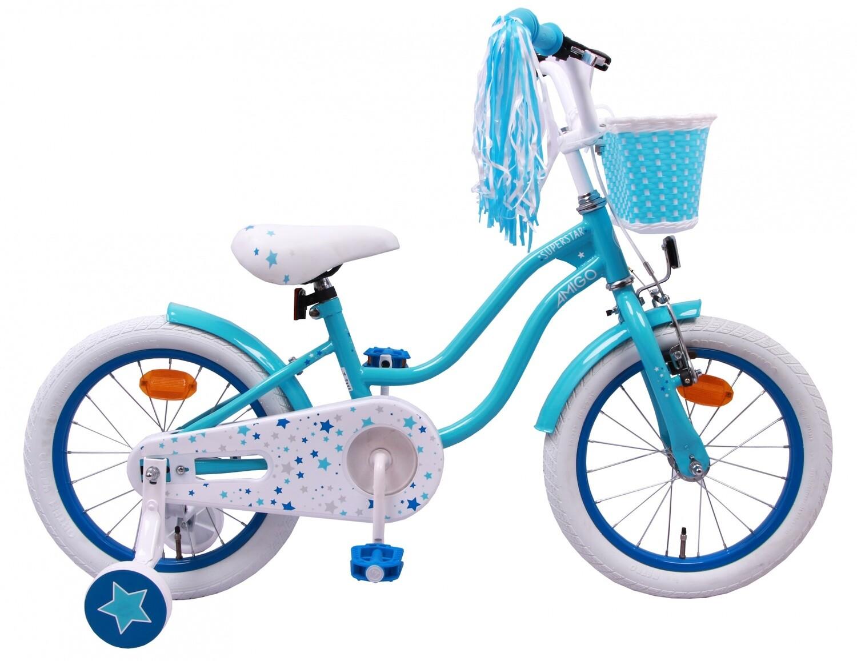 Kinder-Fahrrad Velo AMIGO Superstar 16 Zoll Mädchen Rücktrittbremse Hellblau
