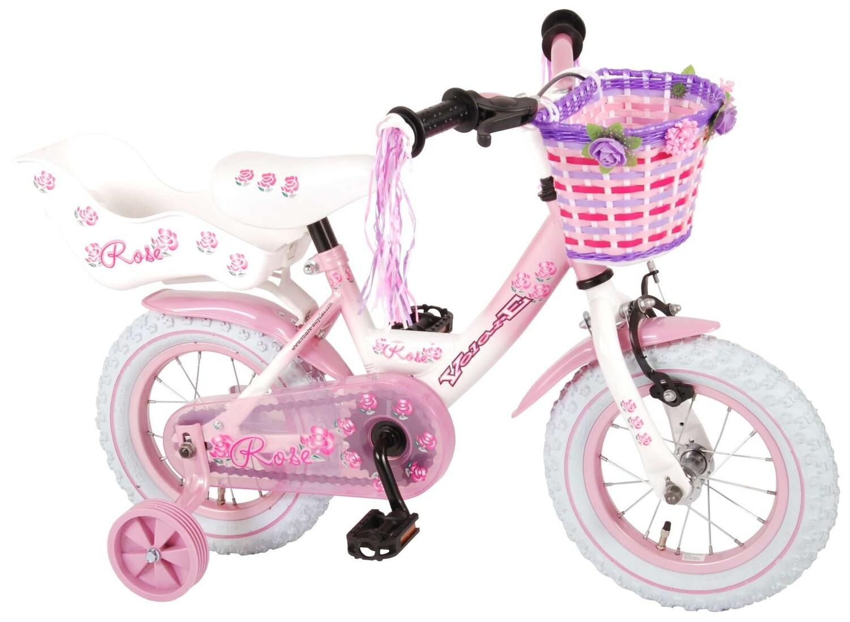 Kinder-Fahrrad Velo Volare Rose 12 Zoll 21,5 cm Mädchen Rücktrittbremse Weiss/Rosa