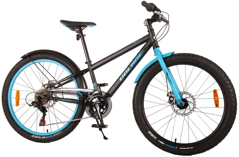 Kinder-Fahrrad Velo Volare Rocky 24 Zoll 37 cm Jungen 6G Scheibenbremse Schwarz/Blau