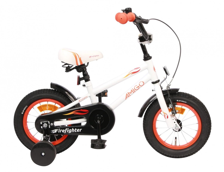 Kinder-Fahrrad Velo AMIGO Firefighter 12 Zoll 17 cm Jungen Rücktrittbremse Weiss