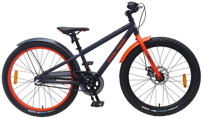 Kinder-Fahrrad Velo Volare Rocky 24 Zoll 37 cm Jungen 3G Rücktrittbremse Dunkelgrau/Rot
